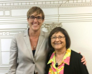 Elaine with Kathleen Mossburg, on behalf of California Family Health Council, outside Assembly Appropriations Committee room.